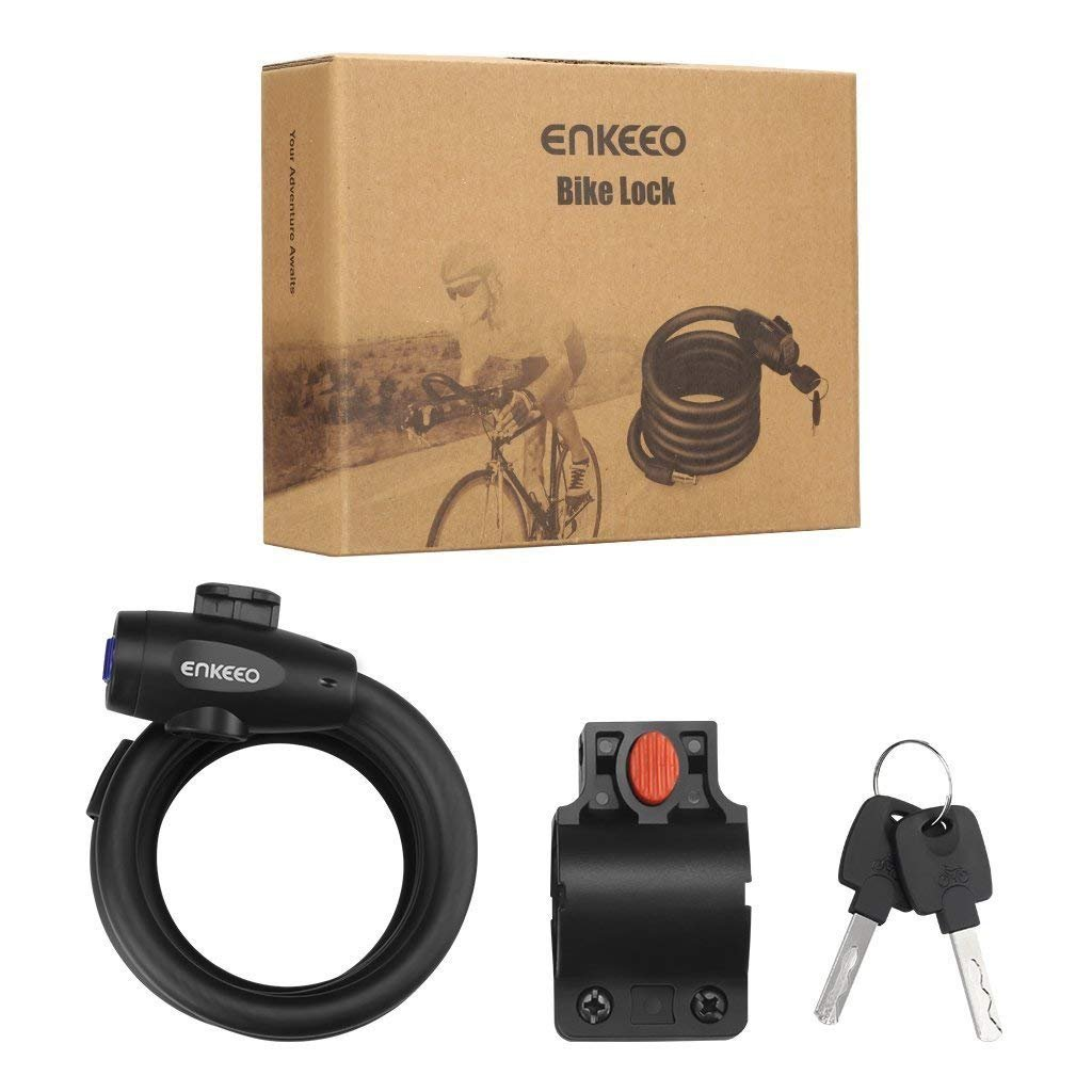 ENKEEO Bike Lock 5.8ft Portable Self Coiling Bicycle Cable Lock with Keys and Mounting Bracket for Outdoor Cycling Bicycle Security by ENKEEO (Image #8)