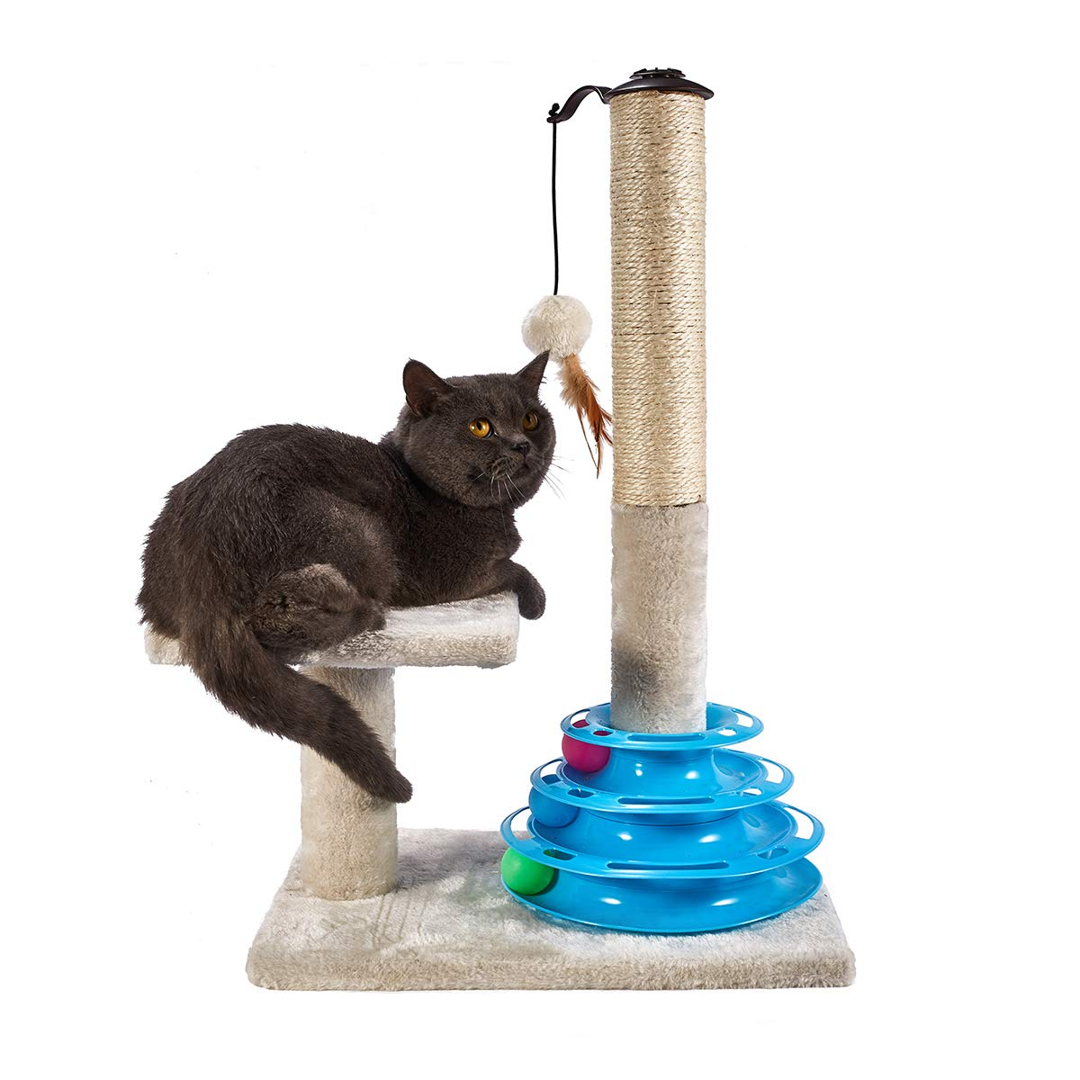 MOJOWIN Cat Scratching Post Sisal Rope Scratcher Tree Soft Plush Interactive Toys