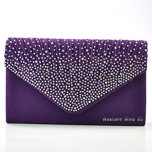 purse wedding clutch lace cream satin ladies womens Wocharm bridal handbag lace Purple bag black evening fashion satin wallet bag red navy xnw6nT