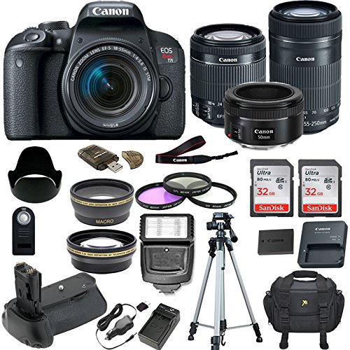 Canon EOS T7i DSLR Camera w/ 5 Lens Bundle Including Battery Grip + 2.2X Telephoto Lens + 0.43x Wide Angle Lens + 2 Pcs 32GB Memory Card + New Accessories with Premium Commander Kit (20 Items)