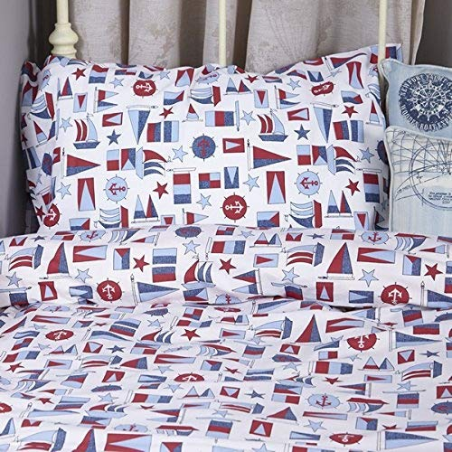 Children's 100% Cotton Percale Duvet Cover Sets- Nautical | Boy's 100% Cotton Nautical Duvet Set | Children's Duvet Sets | Kids Bedding Sets | Boy's Duvet Cover Sets Dotty Frog