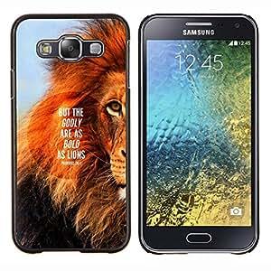 León Texto Mane Inspiring Cita verano- Metal de aluminio y de plástico duro Caja del teléfono - Negro - Samsung Galaxy E5 / SM-E500