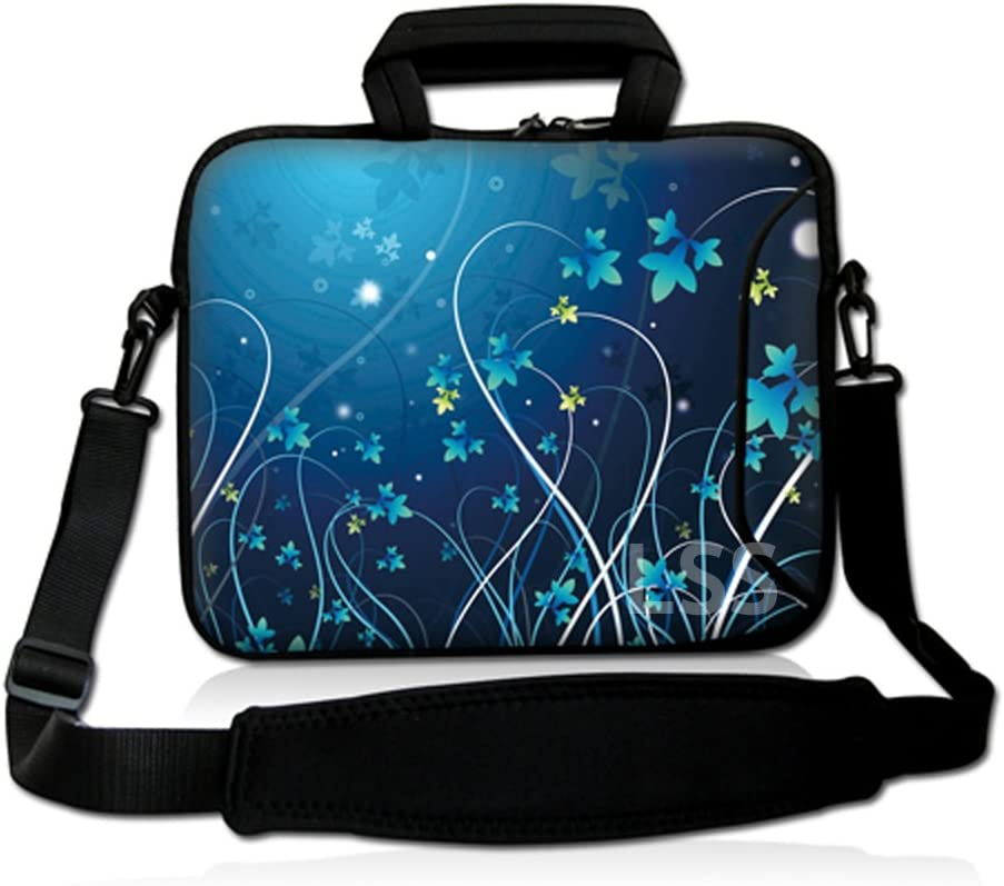 LSS 17 17.3inch Laptop Sleeve Bag Compatible with Acer, Asus, Dell, HP, Sony, MacBook and more   Carrying Case Pouch w/ Handle & Adjustable Shoulder Strap, Blue Floral Swirl Mid Summer Night