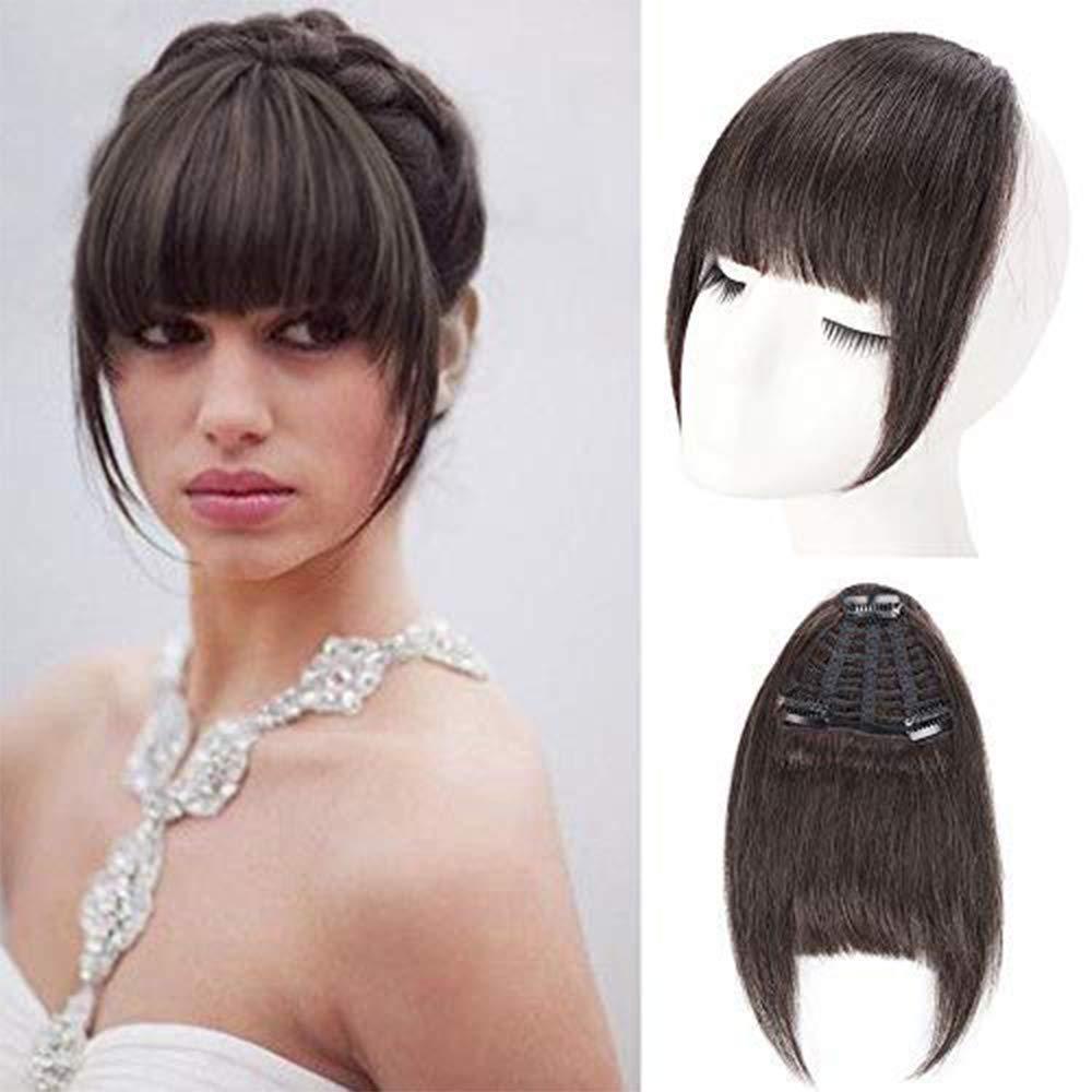 AISI QUEENS Clip in Bangs Extensions 100% Remy Human Hair Neat Bangs One Piece in Fringe Straight Flat Bangs with temple for women(Color:Natural Color) by AISI QUEENS