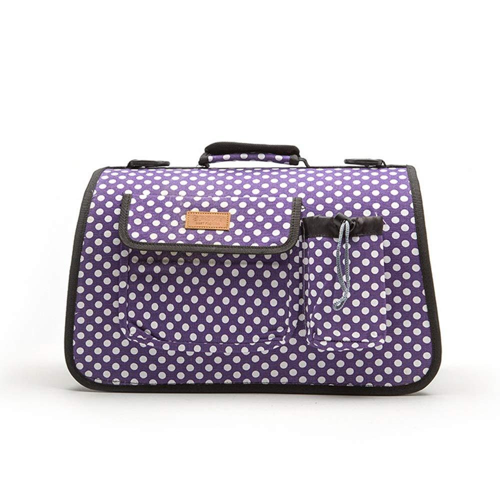 Purple S purple S Pet Supplies Small Pet Dog Out Bag Portable Adjustable Handbags Dot Pet Bag Outdoor Travel Pet Carrier (color   Purple, Size   S)