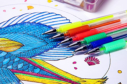 Large Product Image of Tanmit Glitter Gel Pens, 96 Gel Pens Glitter Coloring Set Including 48 Sparkly Colors & 48 Refills for Adult Coloring Books Crafting Drawing Art Markers