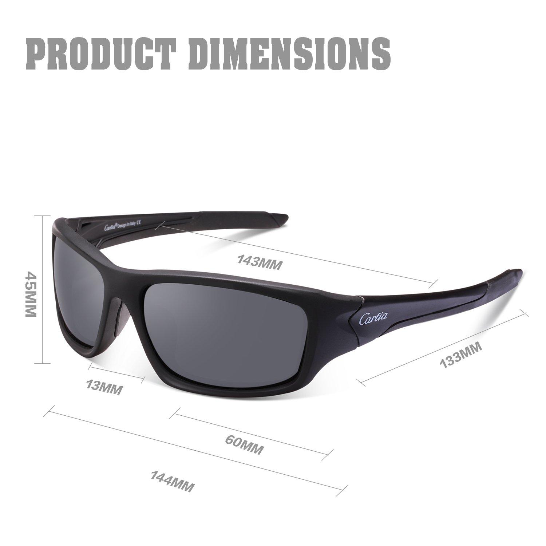 23b7034f133 Amazon.com  Sports Sunglasses - Carfia Cycling Running Fishing Sunglasses  for Men Women Ultralight Comfy Frame (Grey Lens