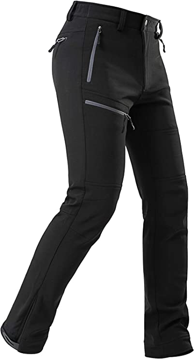 33,000ft Womens Outdoor Fleece Lined Snow Pants Softshell Warm Waterproof Ski Insulated Trousers with Boot Gaiters