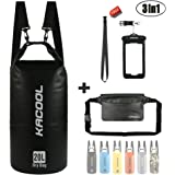 Set of 3 Waterproof Dry Bag by KACOOL - Roll Top Backpack - Detachable Shoulder Strap Dry Sack, Waterproof Waist Pouch & Waterproof Phone Case Submersible for Kayaking Canoeing Rafting Boating Hiking