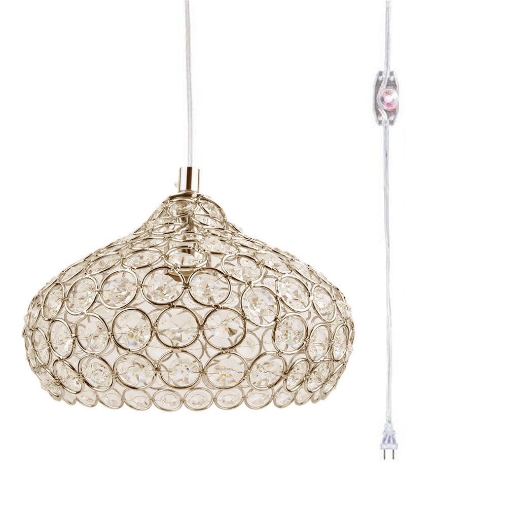 Kiven Plug-in Swag Pendant Gold Crystal Chandelier with 14.76' Cord and Dimmer Switch in Line