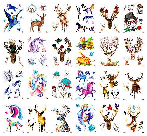 24 sheets reindeer unicorn animals 8.25