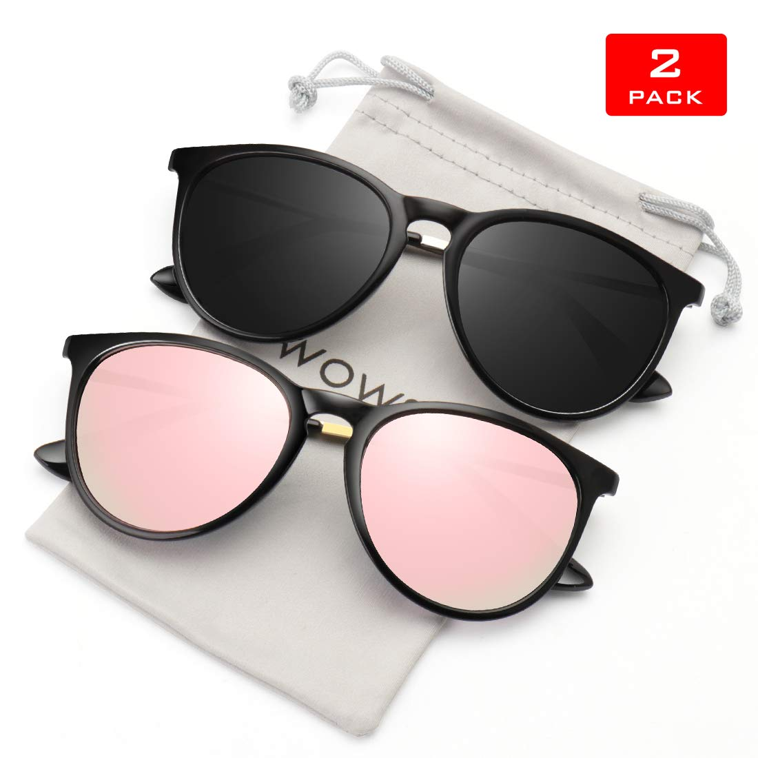 WOWSUN Polarized Sunglasses for Women Vintage Retro Round Mirrored Lens 2 PACK Black Frame Grey Pink mirror sun glasses Shades