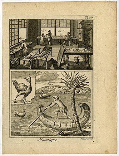 5 Antique Prints-MOSAIQUE-MOSAIC-WORKSHOP-TOOL-DESIGN-Diderot-Benard-1779