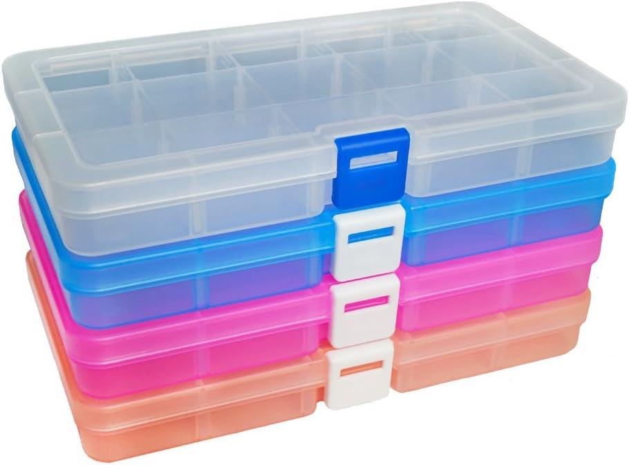 DUOFIRE Ajustable Caja de Almacenamiento de Plástico Joyería Organizador Contenedor de Herramientas (15 Compartimientos x 4, 4 Colores)
