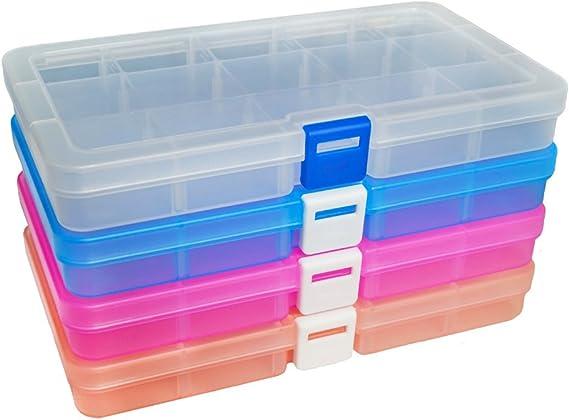 DUOFIRE Ajustable Caja de Almacenamiento de Plástico Joyería Organizador Contenedor de Herramientas (15 Compartimientos x 4, 4 Colores): Amazon.es: Juguetes y juegos