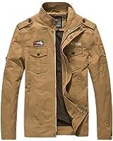 Newbestyle Homme Printemps Automne Veste Militaire Blousons à col Slim Coton Veste D'outillage Mince Zip Collier Manteau Veste