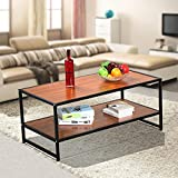 Yaheetech Large Modern Metal Legs Wood Top Coffee Table Simple Sofa Side End Tables with 2 Shelf/Tier Storage Shelves