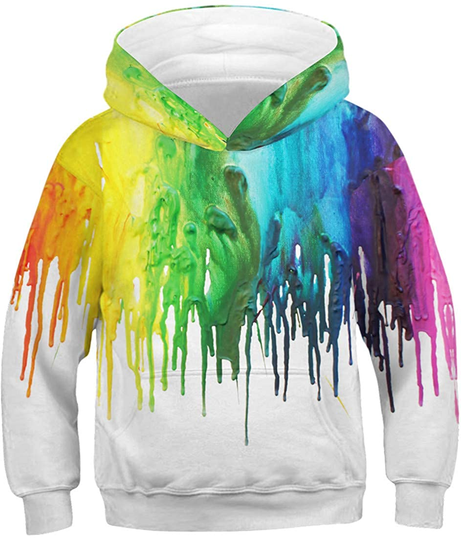 Pandolah Boys Christmas 3D Print Hoodie Animal Pocket Sweatshirt Pullover