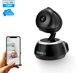 GUUDGO 720P Wireless Home Security Camera Indoor WiFi IP Camera with Two-Way Audio Motion Detection Night Vision for Dog Cat Baby Elder Nanny Monitor, iOS/Android APP Cloud Service