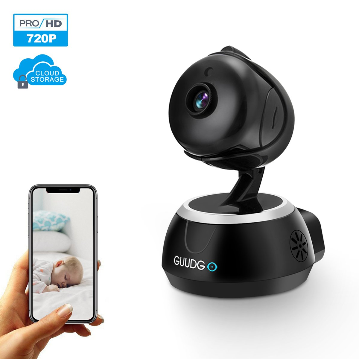 Home Security Camera, GUUDGO Home Security System 720P HD WiFi IP Camera, Indoor Wireless Dome Camera for Baby, Pet Monitoring Care, Motion Detection Alarm, iOS/Android Supported
