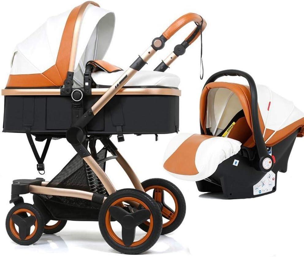 TZZ 幼児の少年少女のための5ポイント安全システムとの1ベビーカーPU高い景観ベビーカーで3 (色 : 白)