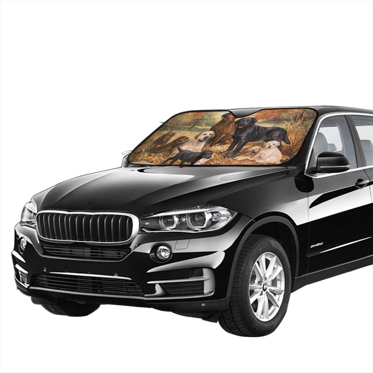 Interior Accessories Sunshades CARHDFRI My Pet Dog Family Oil Painting Cute Automotive Windshield Sunshades 27.5 X 51 Inch UV and Sun Protection Cover Auto Sun Shade Keep Cool for Car SUV Truck,Windshield Sunshades