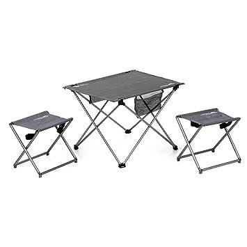 Lixada Plegable Camping Mesas de Picnic con 2 sillas ...