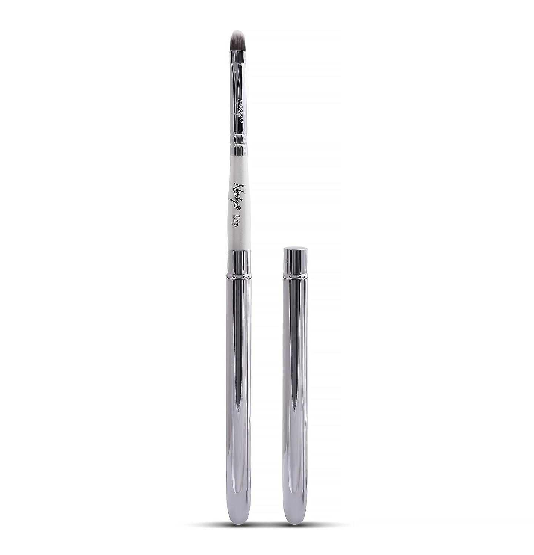Nanshy labbro trucco pennello con coperchio migliore rispetto a scomparsa uso per rossetto Liner Gloss (manico bianco, cromo argento tappo) vegan cruelty-free