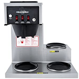 "Bloomfield 8571-D3 Koffee King Coffee Brewer, Low Profile, Pour-Over Option, Single, Faucet, 3-Warmer, Right Stepped, Stainless Steel, 14"" Depth, 16 1/4"" Width, 16 7/8"" Height"