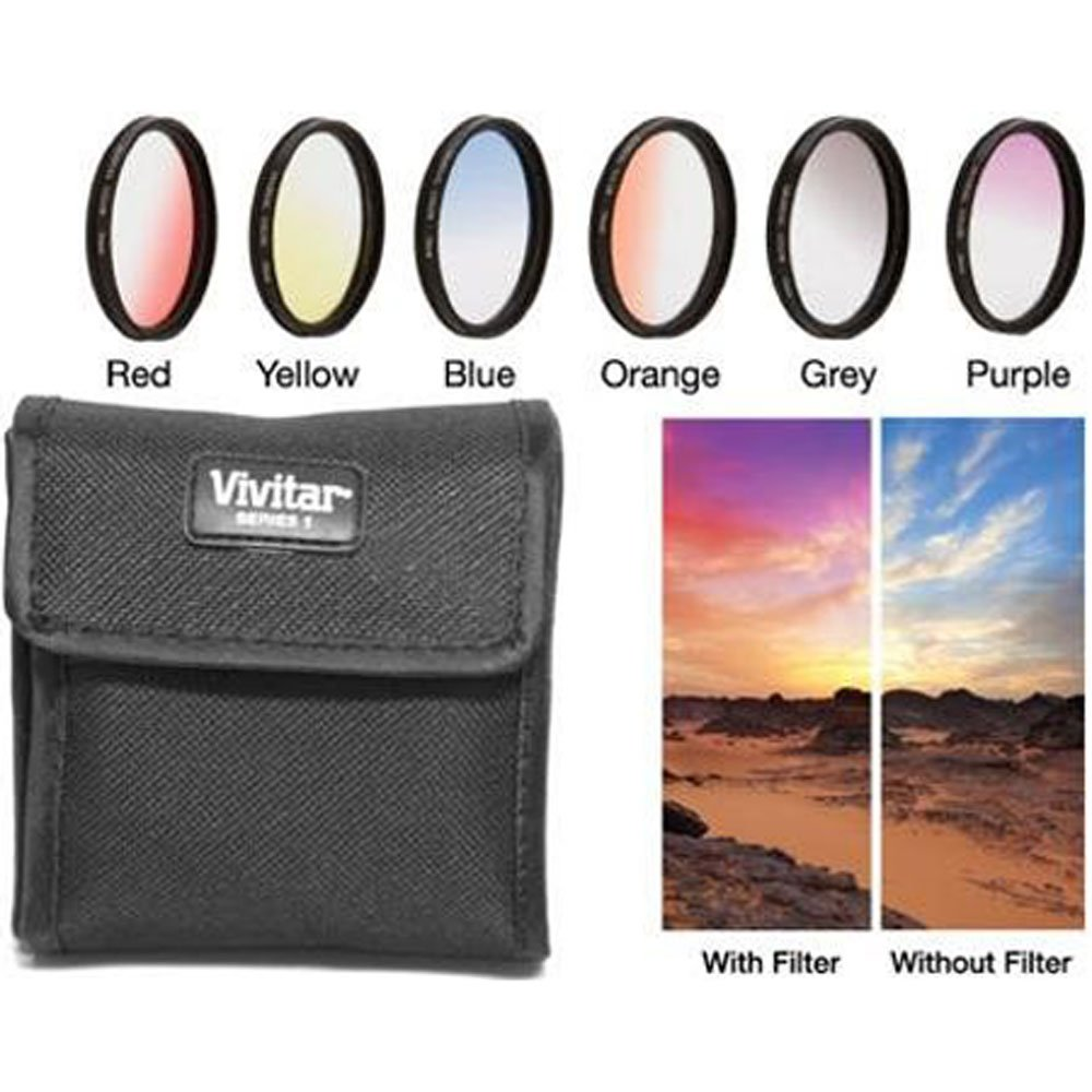Vivitar 6-Piece Multi-Coated Rotating Graduated Color Filter Set (49mm) Includes: Red, Yellow, Blue, Orange, Grey & Purple by Vivitar