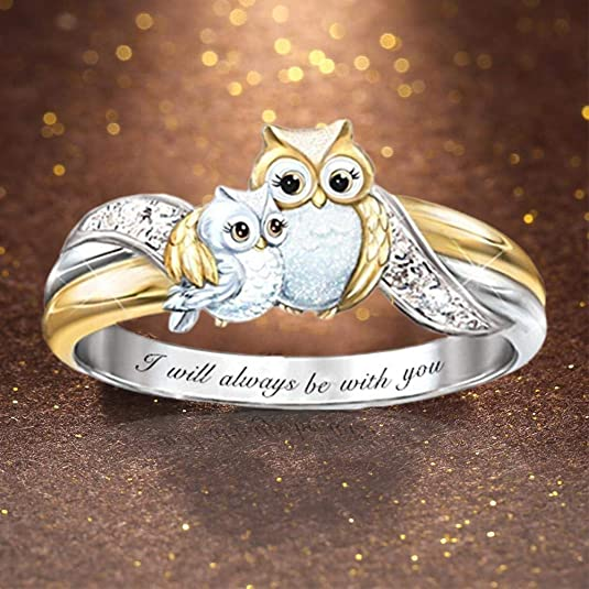 Animal Ring 925 Sterling Silver Owl Ring Gift for Teens and Girls Free Engraving Owl Ring Gift for Mom