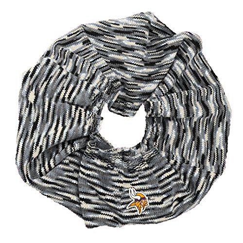 Minnesota Vikings Nfl Light - Touch by Alyssa Milano NFL Minnesota Vikings Infinity Space Dye Cozy Scarf, One Size, Light Gray/Black/White