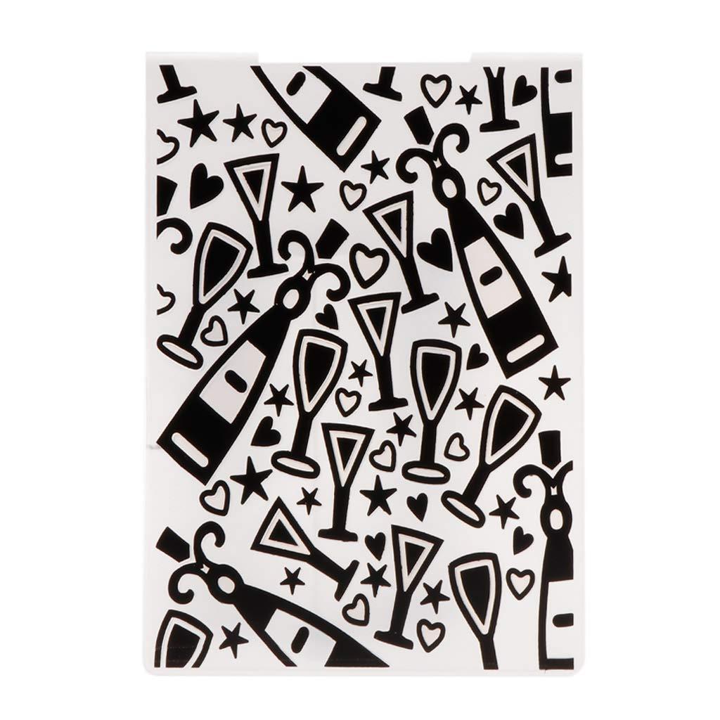 CHBC Plastic Embossing Folder Template for DIY Scrapbook Photo Album Card Paper Craft Wine Glass