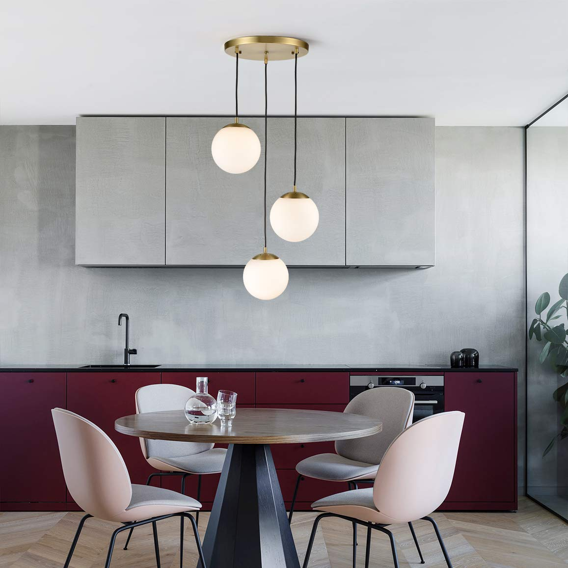 Light Society LS-C255-BB-WH Zeno 3-Light Pendant Lamp in Brushed Brass and White Glass Globes with Adjustable Length Cords Retro Mid Century Modern Style Chandelier
