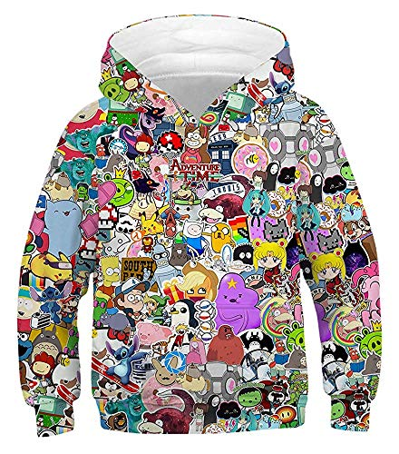 HelloTem Kids 3D Cartoon Printed Hoodies Teen Boys' Cute Galaxy Hooded Sweatshirts 4-13Y (Character046, L)