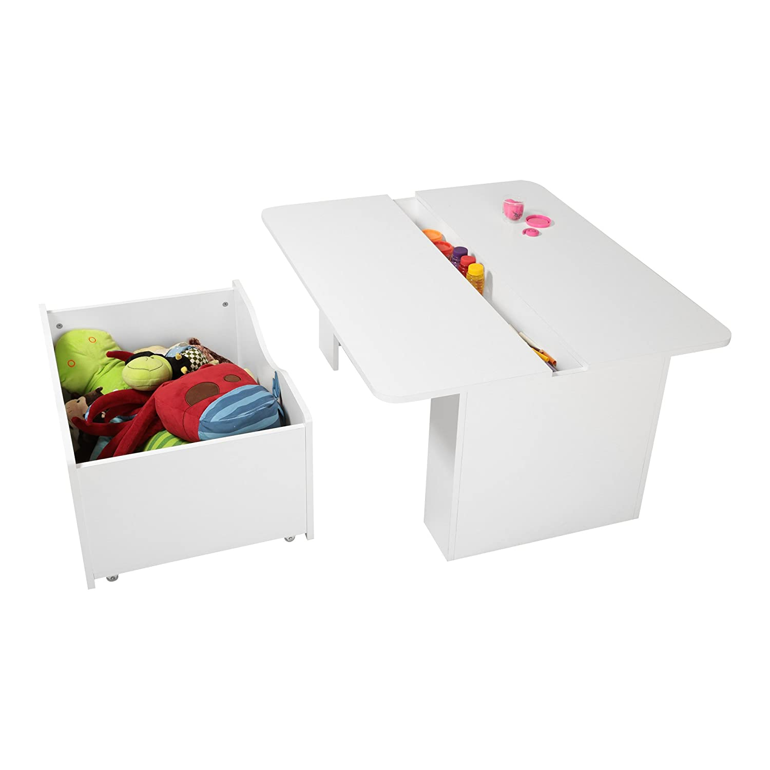 Amazon.com: South Shore Kids Activity Table With Toy Box On Wheels, Pure  White: Kitchen U0026 Dining