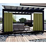 Macochico Extra Wide Curtain Panels Outdoor Indoor Decoration Privacy Protection Windproof Heat Insulated Luxury Drapes for Pergola Porch Patio Olive 150W x 102L (1 Panel)