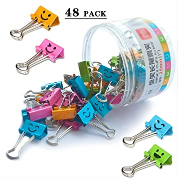 Medium Metal Paper Clips Clamp Multi Colored 1 Inch Coideal 48 Pack Assorted Color Binder Clips Photo File Paper Document Clip Holder Organizer for Office Home Multicolored, 25mm