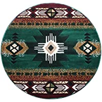 Southwest Native American Area Rug Carpet Hunter Green (7 Feet X 7 Feet Round)