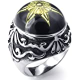 Konov Jewellery Mens Stainless Steel Ring, Classic Gothic, Color Gold Silver Black (with Gift Bag)