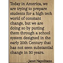 """Today in America, we are trying to..."" quote by Janet Napolitano, laser engraved on wooden plaque - Size: 8""x10"""