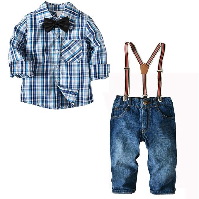 b7b1a54d4 Niño Camisetas de Manga Larga y Pantalones Jeans de Traje Blazers y Trajes  Esmoquin Ropa  Amazon.es  Ropa y accesorios