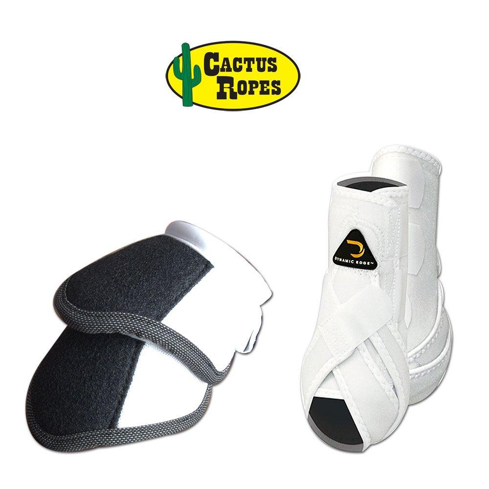 Cactus Medium Dynamic Edge Horse Front Leg Sport Bell Boots Pair Combo White