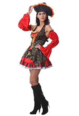 Pirate Halloween Costume - Adult Funny Lady Spanish Pirate Costume  sc 1 st  Amazon.com & Amazon.com: Pirate Halloween Costume - Adult Funny Lady Spanish ...