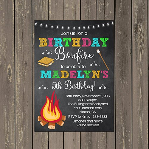 Girls Birthday Bonfire and Smores Birthday Party Invitations, Set of 10 invitations with white envelopes]()