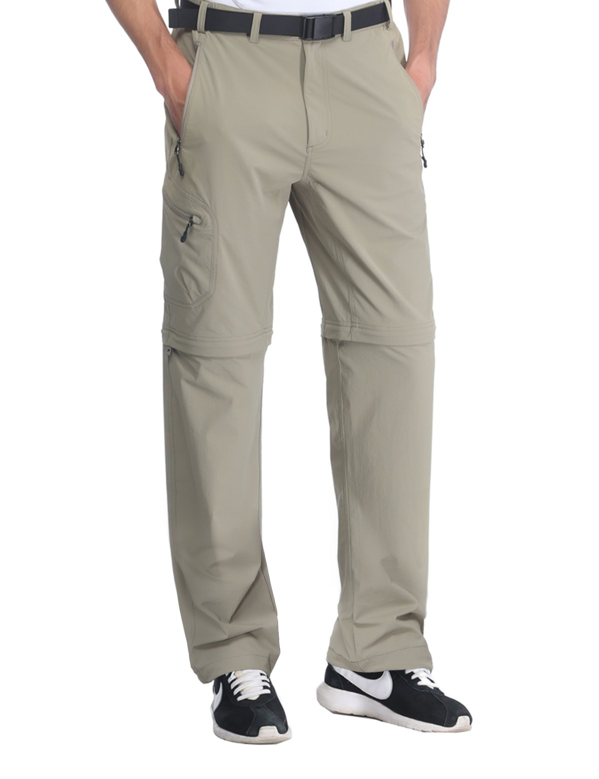 MIERSPORTS Men's Outdoor Cargo Pants Quick Dry Convertible Pants for Travel Hiking Climbing, Water Resistant, 5 Pockets, Rock Gray, L