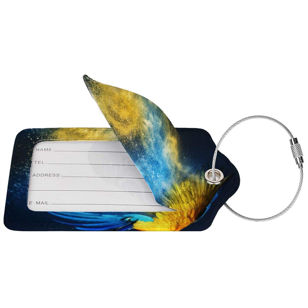 Bird Blue And Yellow Macaw Parrot Luggage Tag Label Travel Bag Label With Privacy Cover Luggage Tag Leather Personalized Suitcase Tag Travel Accessories