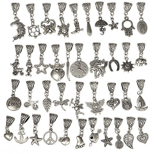 RUBYCA 80Pcs Tibetan Silver Color Connector Bails Mix Beads with Pendant fit Charm Bracelet 401 ()
