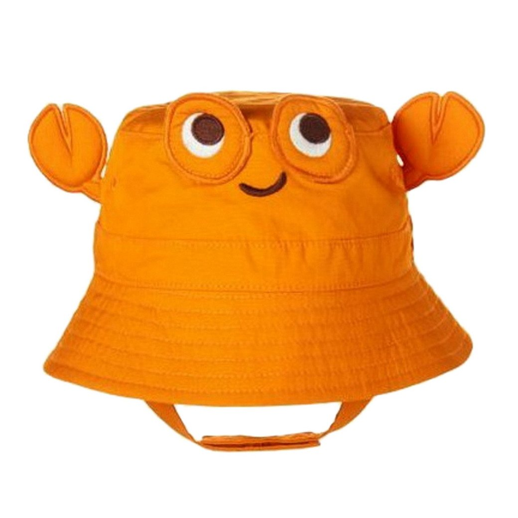 TANGDA Baby Toddler Fisherman Bucket Hat Crab Pattern Sunhat With Chin Strap