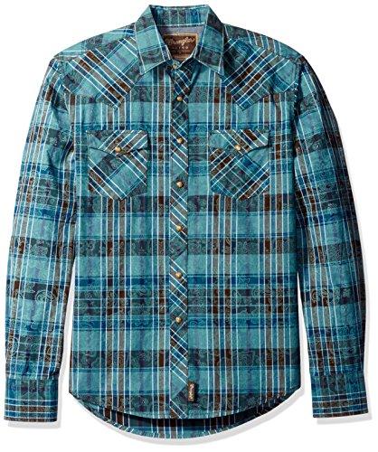 Wrangler Men's Retro Two Pocket Long Sleeve Snap Front Shirt, Jade/Blue, S (Retro Western Snap Shirt)